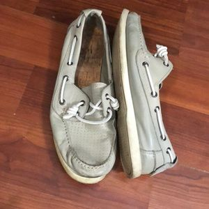 Gray Leather Boat Shoes